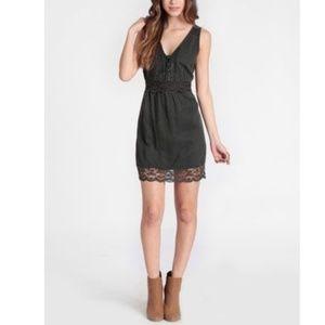 Free People lace inset linen tencel dress
